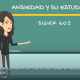 A screenshot of an animated CSUN master of social work video, with two animated characters to the left of a blackboard and one animated character to the right. The board reads Ansiedad Y Su Estudiante, SWRK 602.